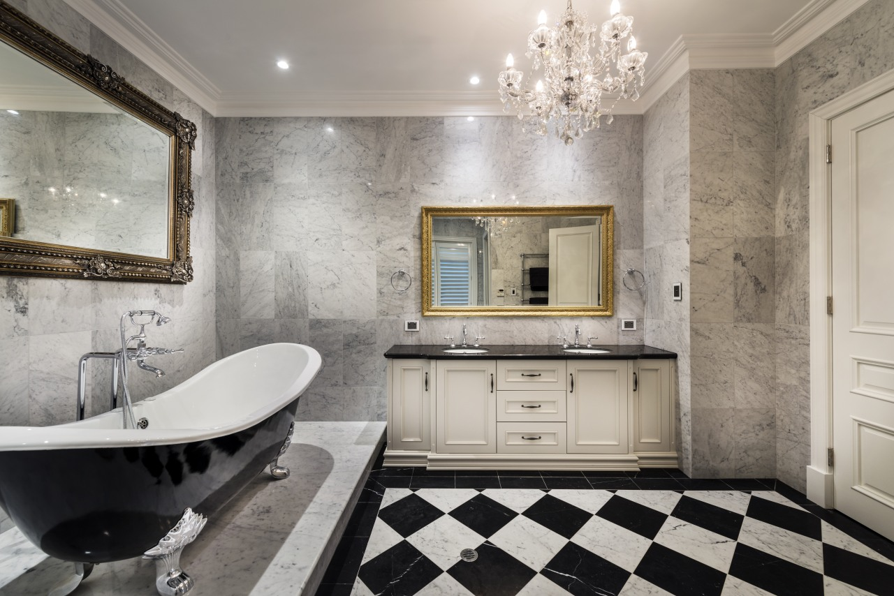 Dripping in bling – overhead lighting becomes a bathroom, countertop, floor, flooring, home, interior design, room, tile, wall, gray