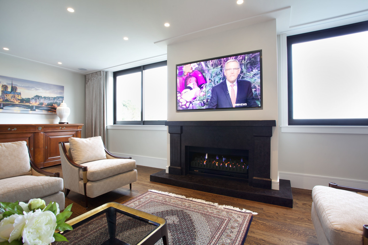 Gas fire in large home office home, interior design, living room, room, white, gray