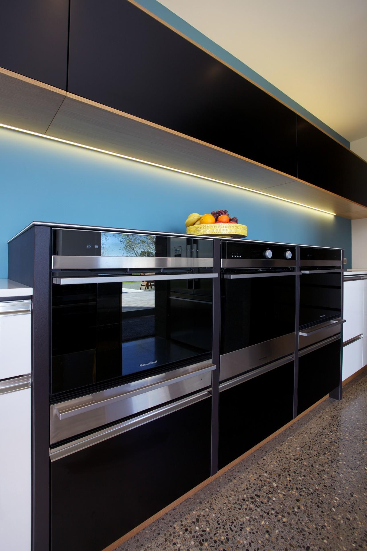 NKBA NZ award-winning kitchen 2014 with Fisher & countertop, interior design, kitchen, black