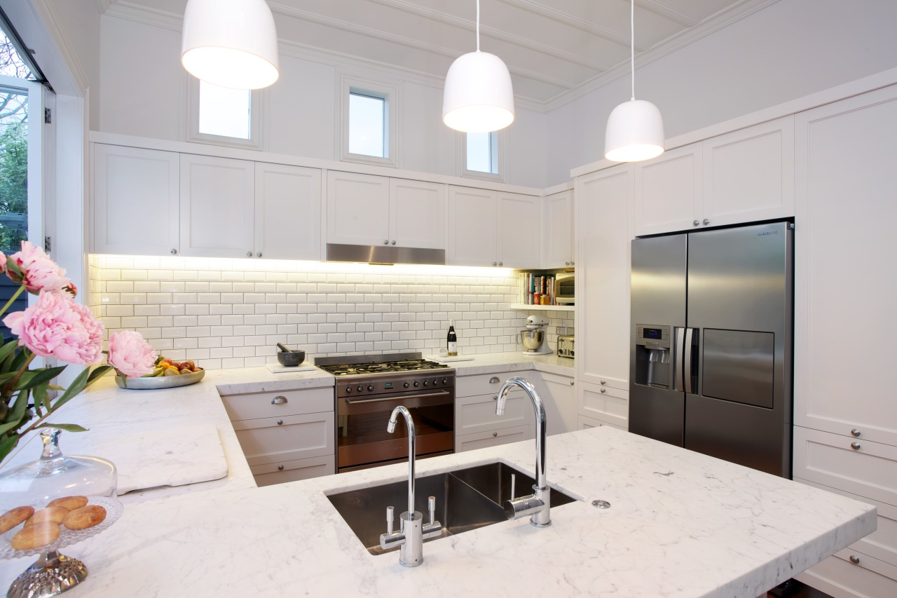 Mitred and honed Bianco Carrara marble benchtops are countertop, cuisine classique, home, interior design, kitchen, real estate, room, gray