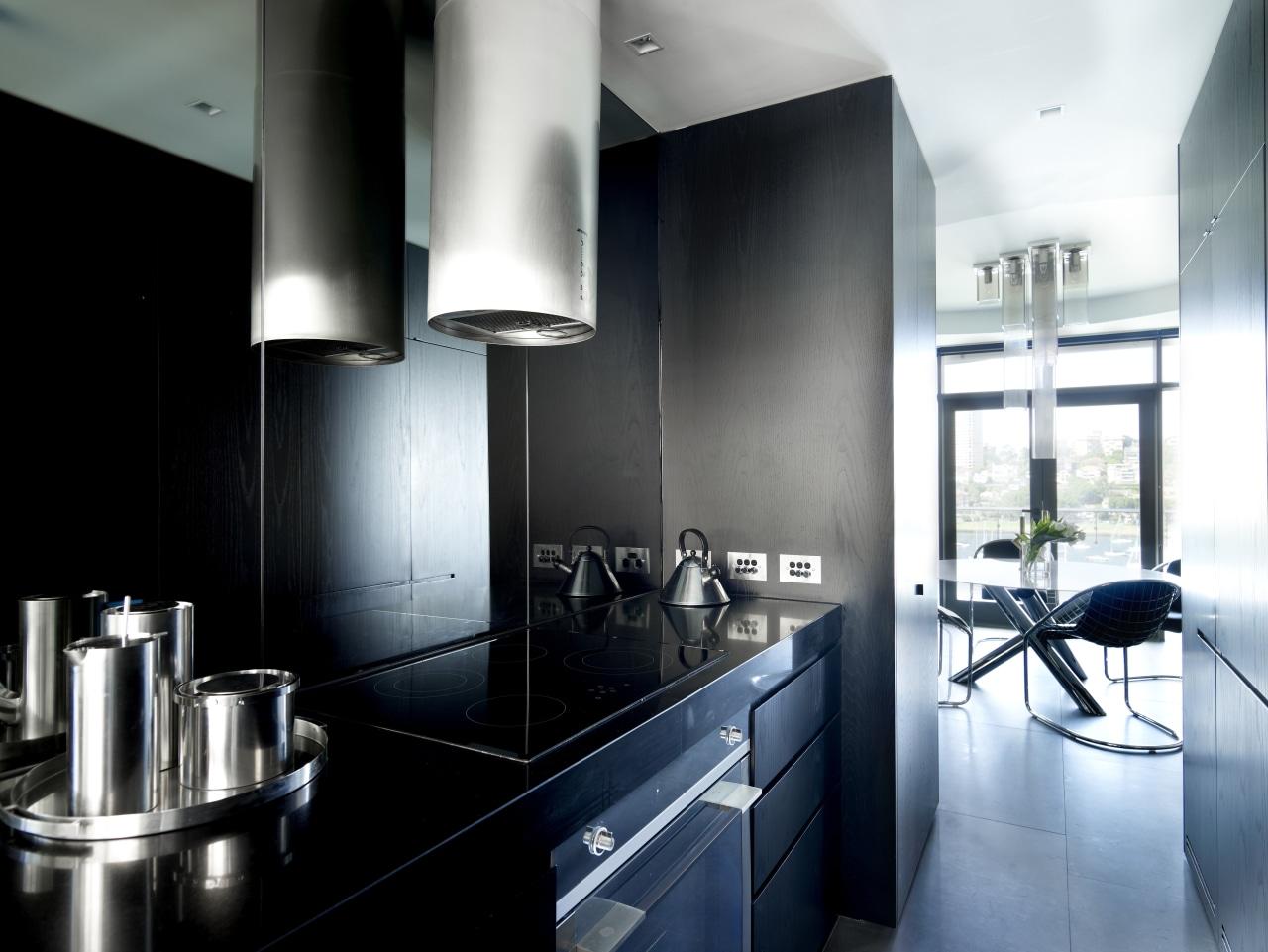It's the appliances that enliven Greg Natale's galley architecture, countertop, interior design, kitchen, product design, black, white