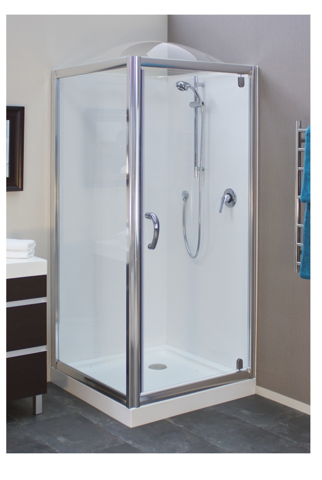 Simple but highly effective  introducing a Showerdome angle, plumbing fixture, shower, shower door, gray