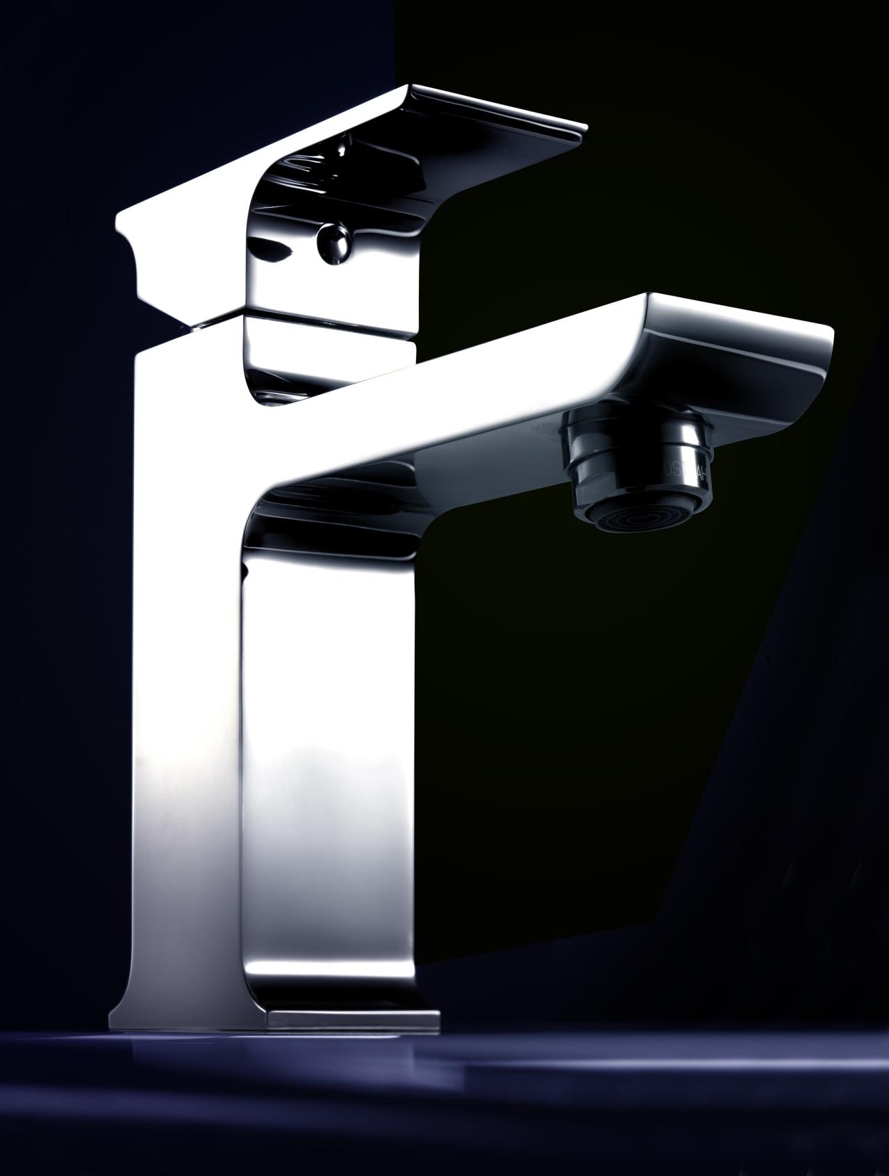 Dorf Jovian basin mixer eco-friendly  bathroom fixture angle, hardware, plumbing fixture, product, product design, tap, black