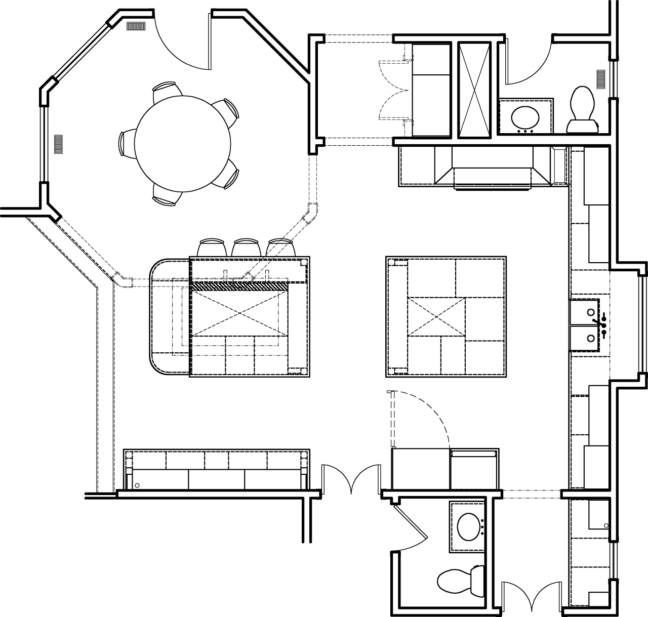 Plan of large kitchen with two square islands angle, area, black and white, design, diagram, drawing, floor plan, font, line, product, product design, structure, technical drawing, white