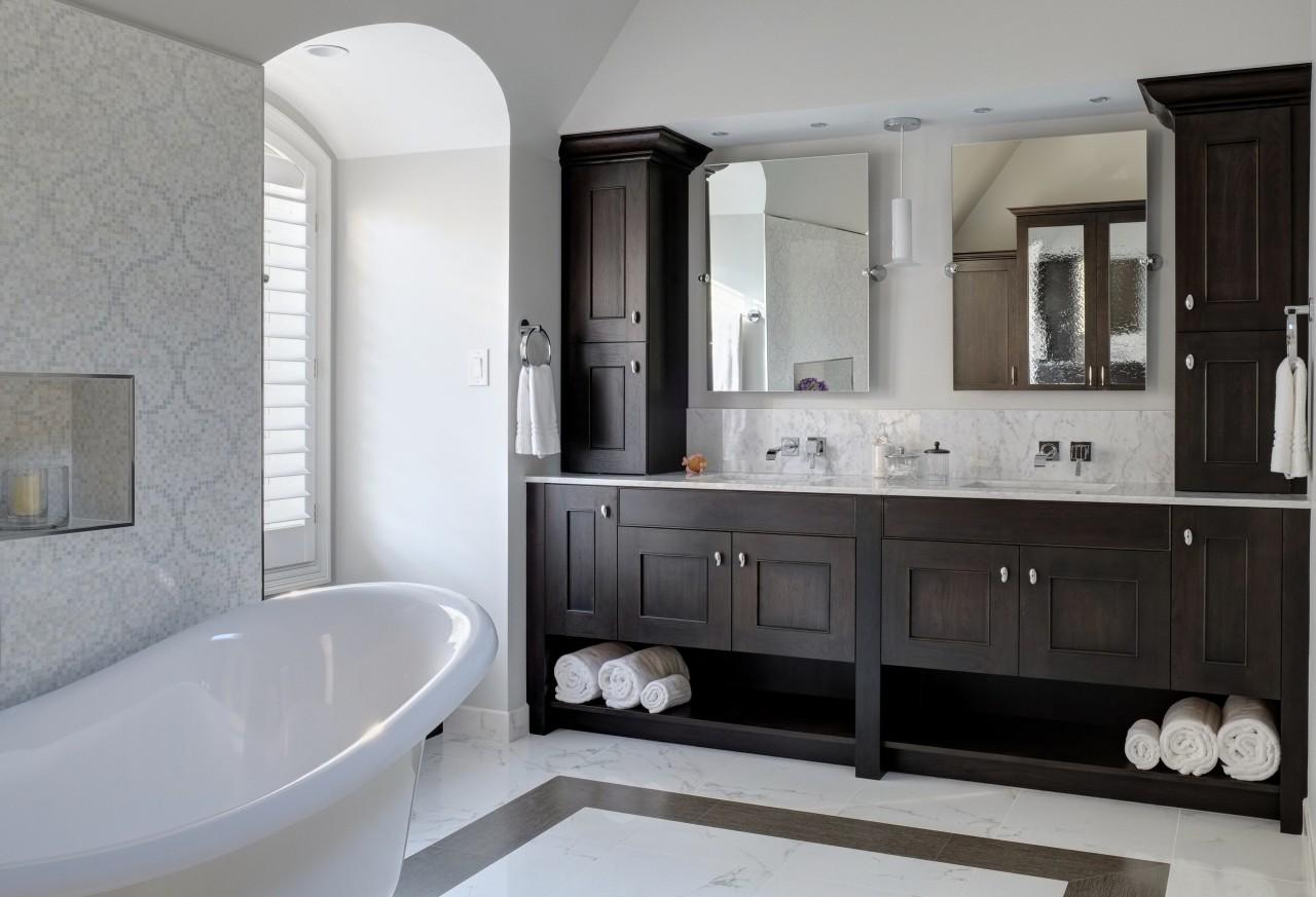 The bathroom vanity is also dark-stained hickory wood. bathroom, bathroom accessory, bathroom cabinet, home, interior design, plumbing fixture, room, sink, gray