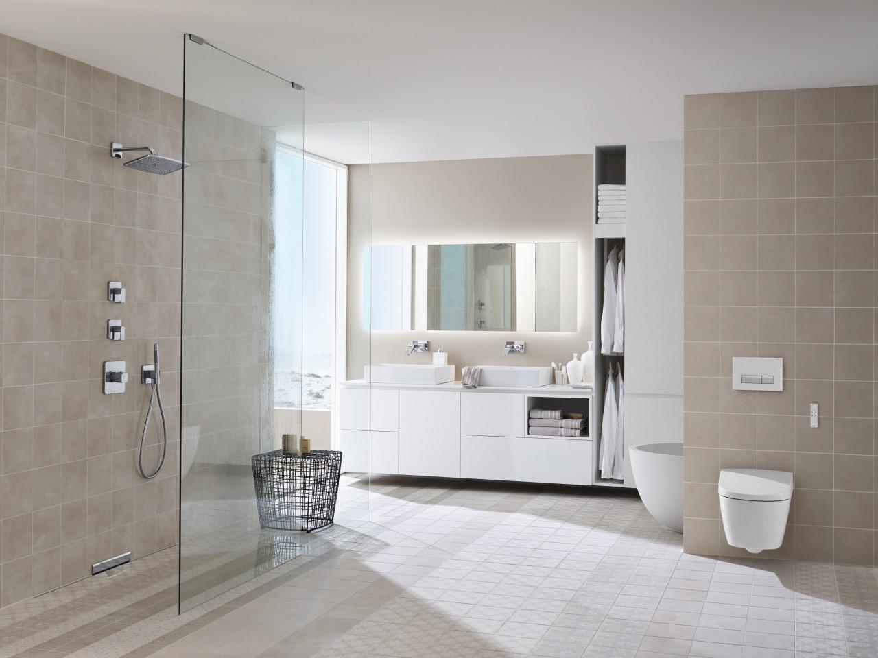 Wall-hung vanities and toilets, we rooms and Geberit bathroom, bathroom accessory, bathroom cabinet, floor, flooring, interior design, plumbing fixture, room, sink, tile, wall, wood flooring, gray