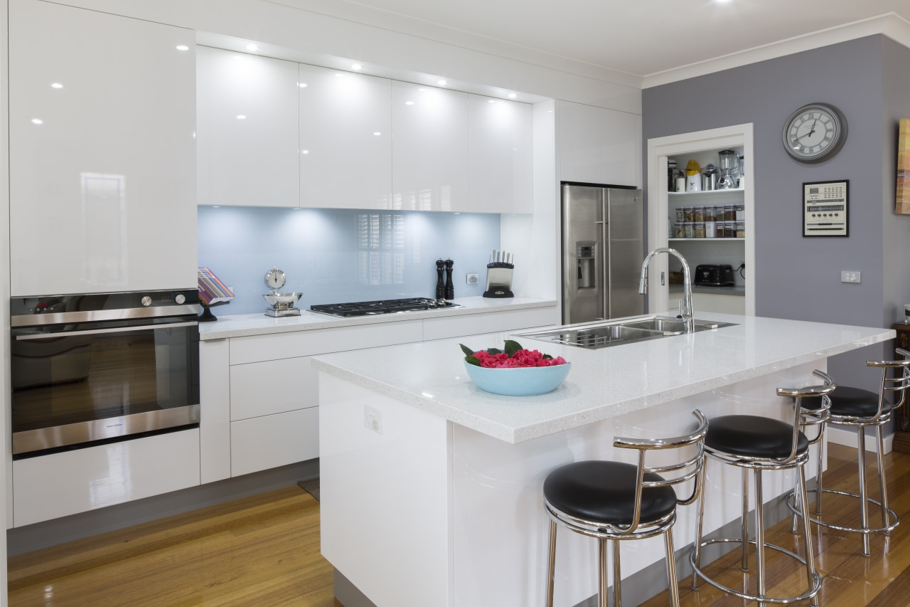 Contemporary white kitchen by Kitchen & Home with countertop, interior design, kitchen, real estate, room, gray, white