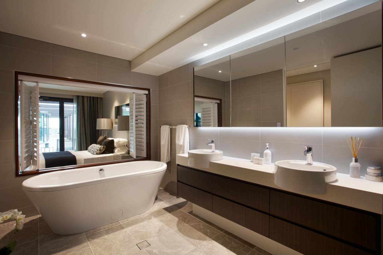 This master ensuite by Styline Kitchens features a bathroom, estate, home, interior design, real estate, room, window, brown, gray