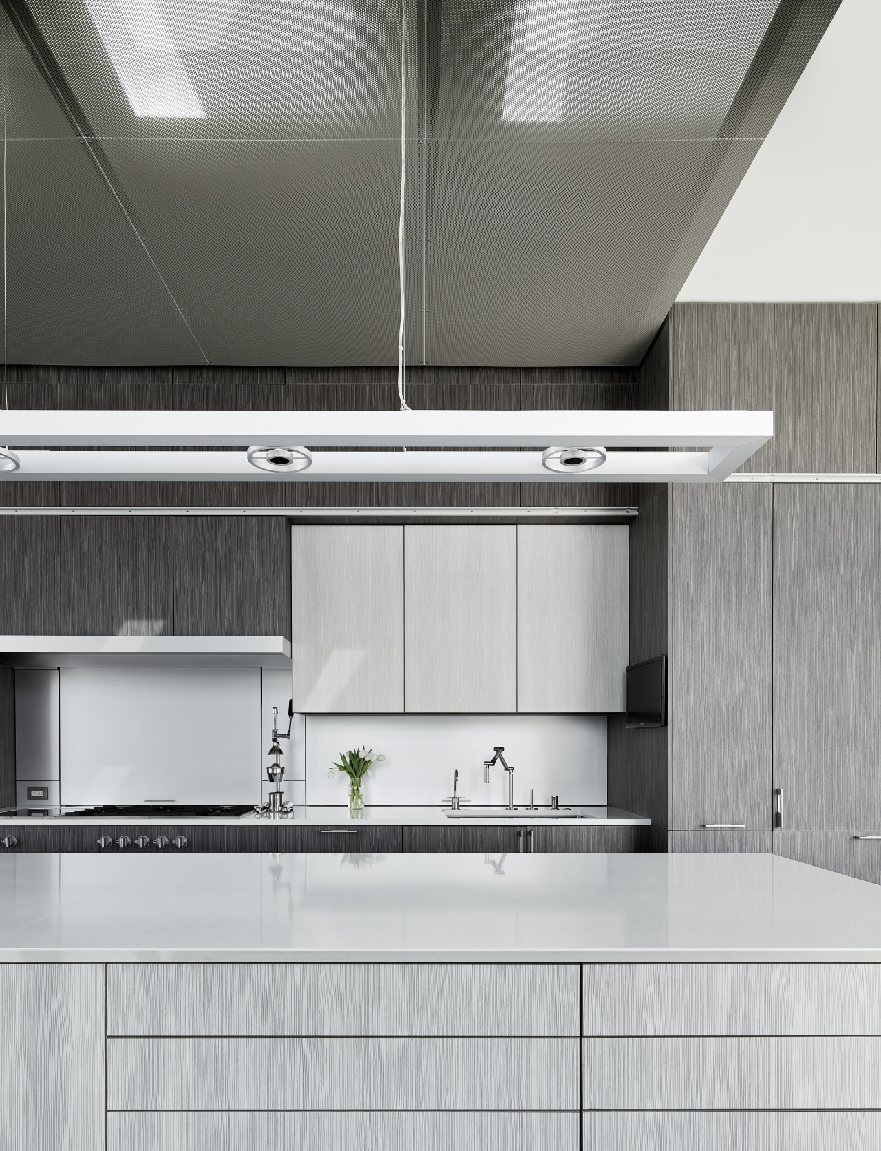 Cabinets in a mix of mid-gray veneer and architecture, countertop, interior design, kitchen, product, product design, gray, white