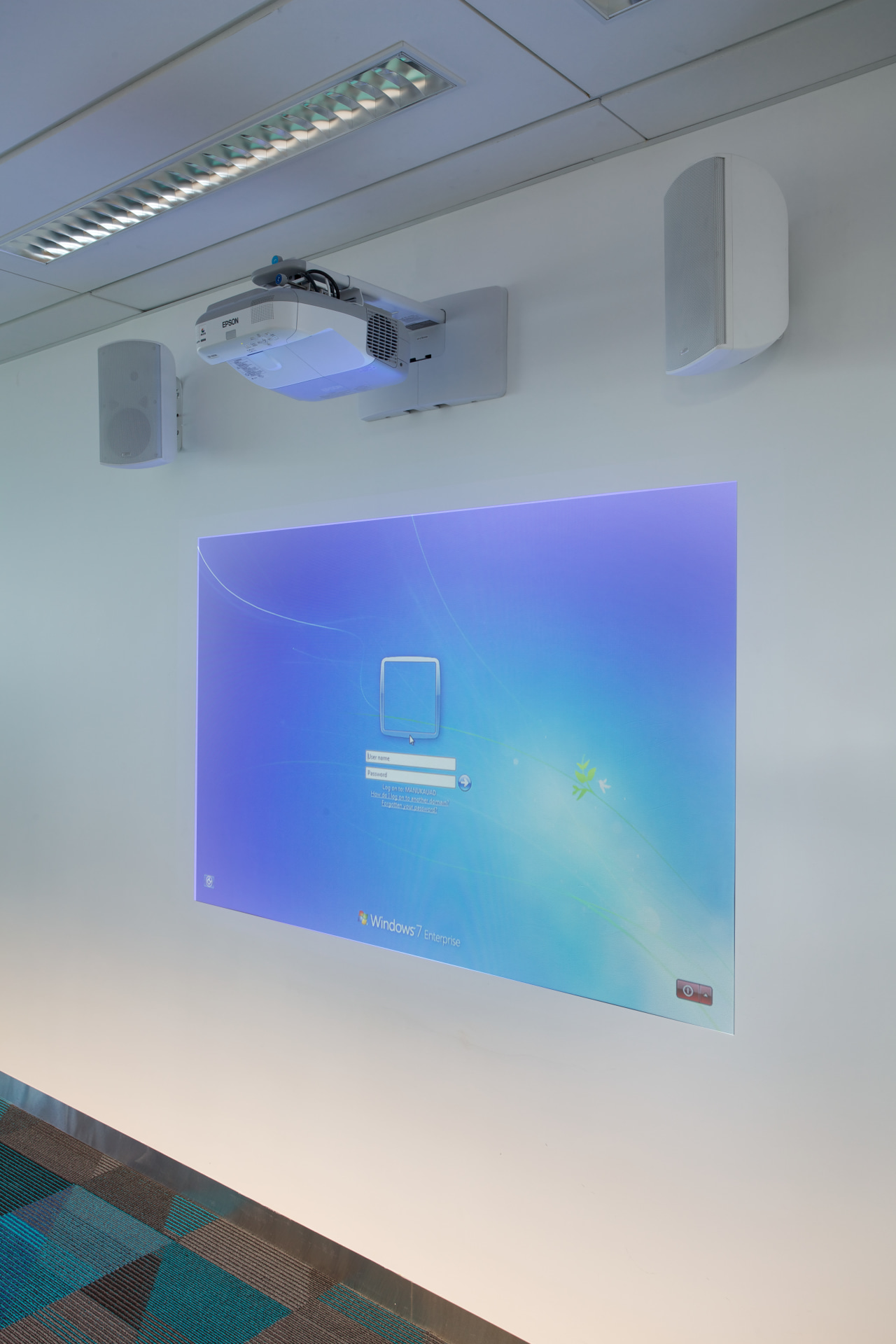 Advanced Ultra short-throw projector and touch screen interactive ceiling, daylighting, display device, glass, lighting, product design, sky, technology, gray
