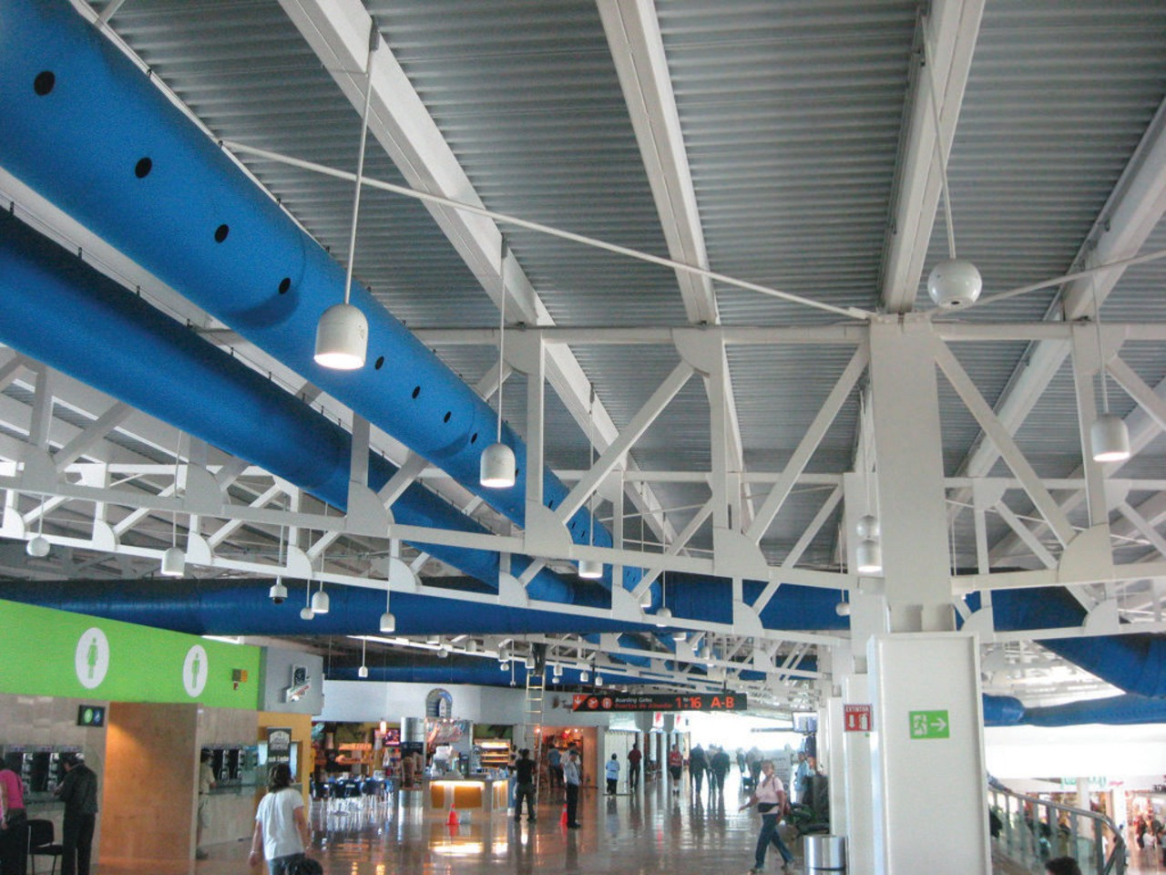 This DuctSox Fabric Air Dispersion System, seen here airport, airport terminal, ceiling, structure, gray