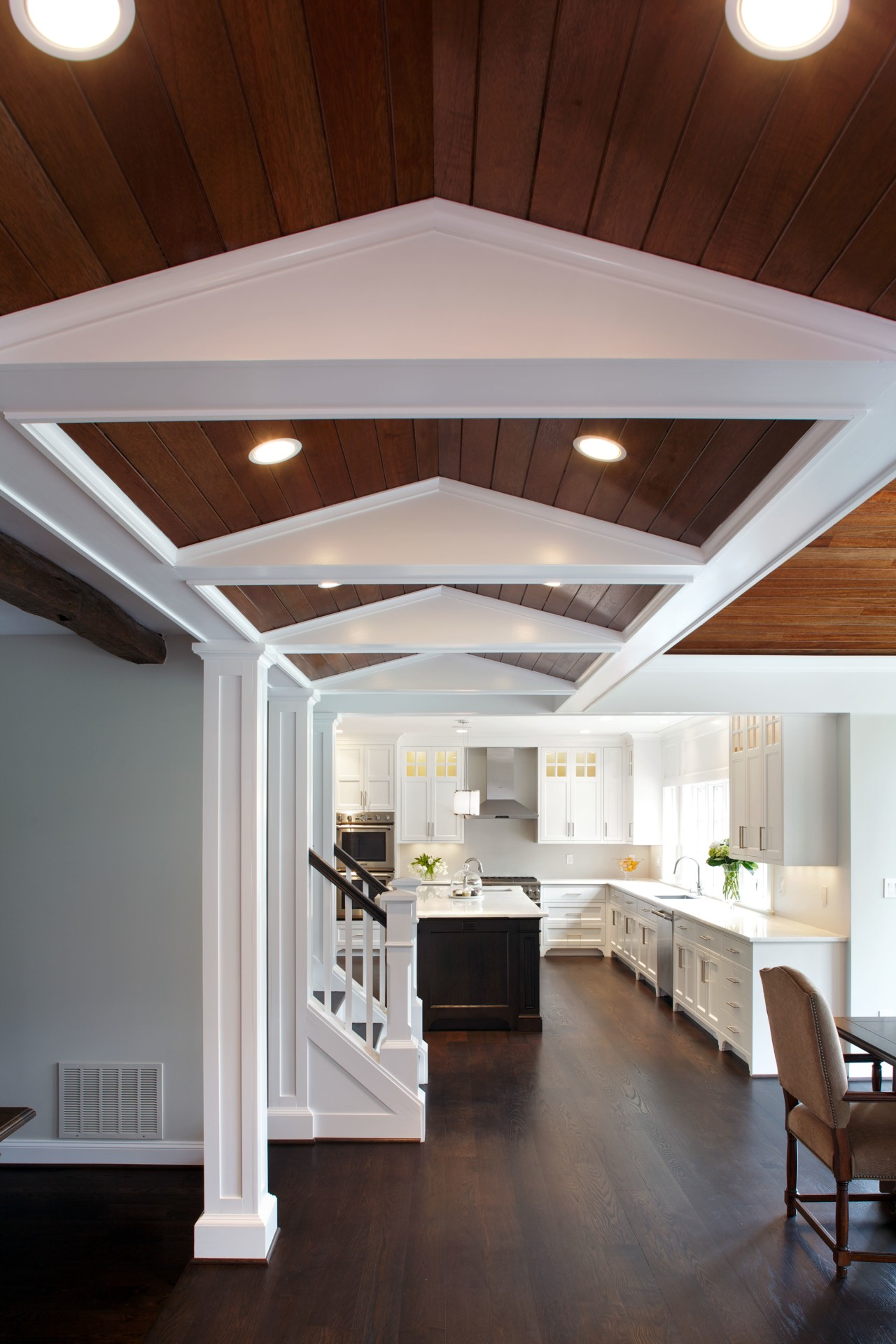 A new raked ceiling element helps to define architecture, ceiling, daylighting, floor, home, house, interior design, gray
