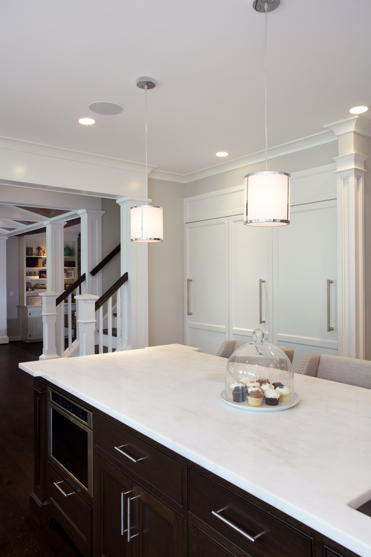 The cabinetry was painted to match the existing cabinetry, ceiling, countertop, cuisine classique, floor, flooring, hardwood, home, interior design, kitchen, light fixture, lighting, room, gray