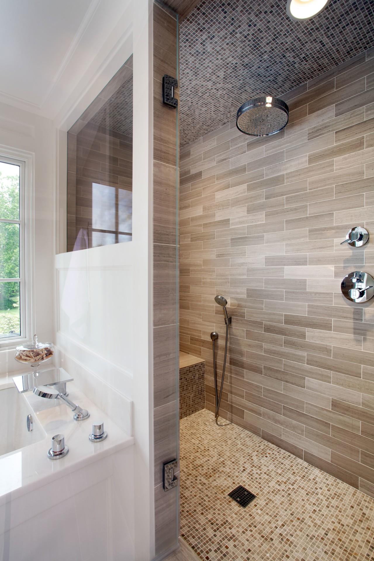 Matching porcelain tiles in varying sizes and formats architecture, bathroom, floor, flooring, home, interior design, plumbing fixture, room, tile, wall, gray