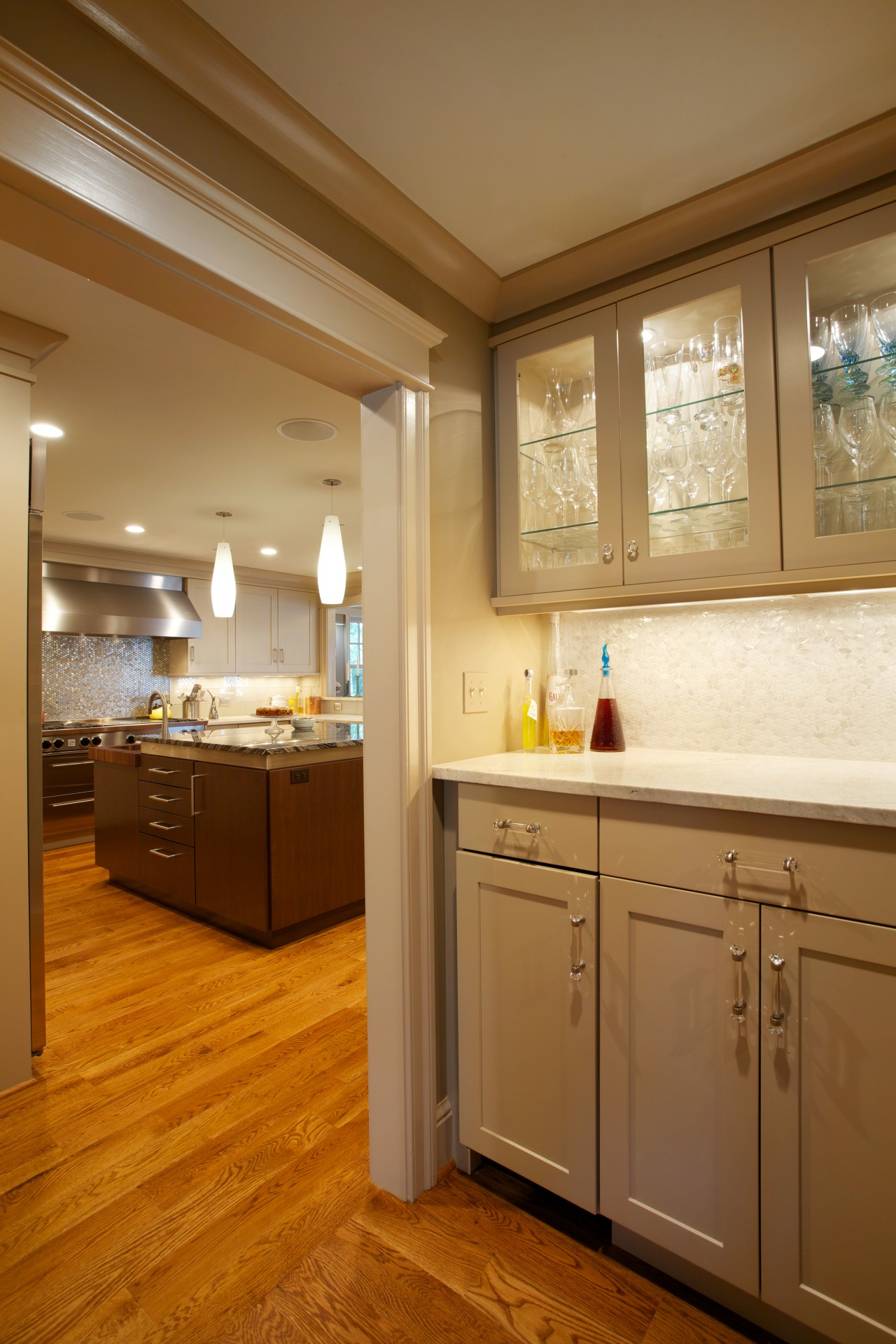 This butlers pantry stands between the dining room bathroom, cabinetry, ceiling, countertop, floor, home, interior design, kitchen, room, window, brown