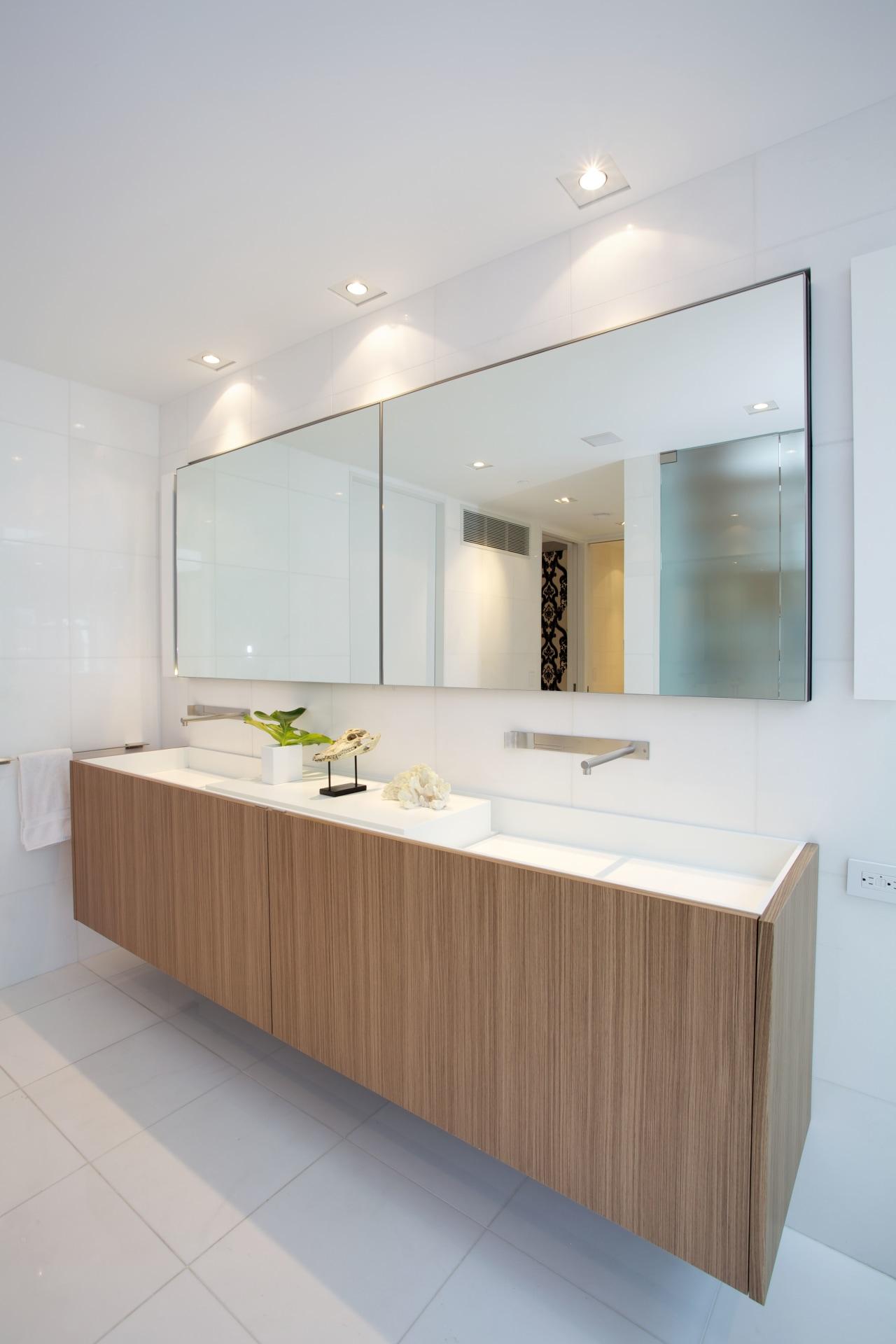 The cantilevered Boffi vanity features walnut wood veneer bathroom, countertop, floor, interior design, kitchen, product design, sink, gray, white