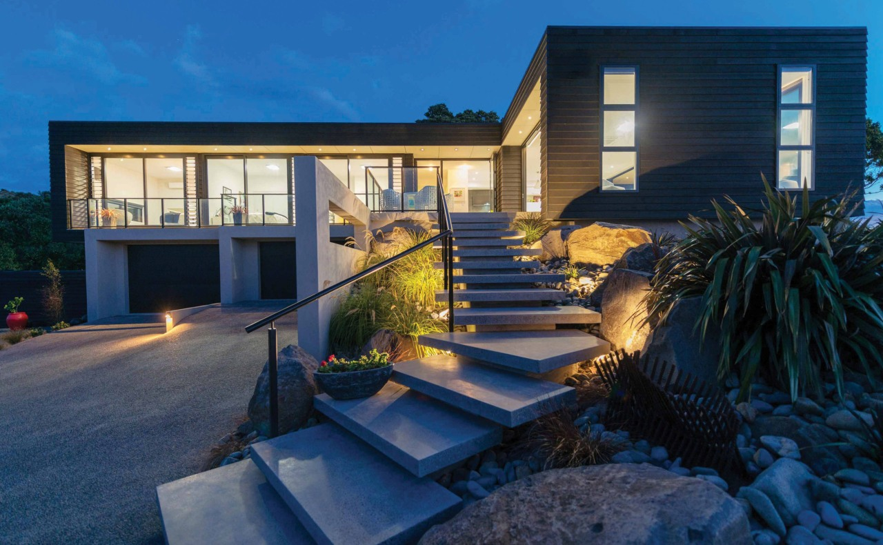 Cantilevered concrete steps lead up to the entry architecture, backyard, building, estate, facade, home, house, lighting, property, real estate, residential area, villa, window, blue, black