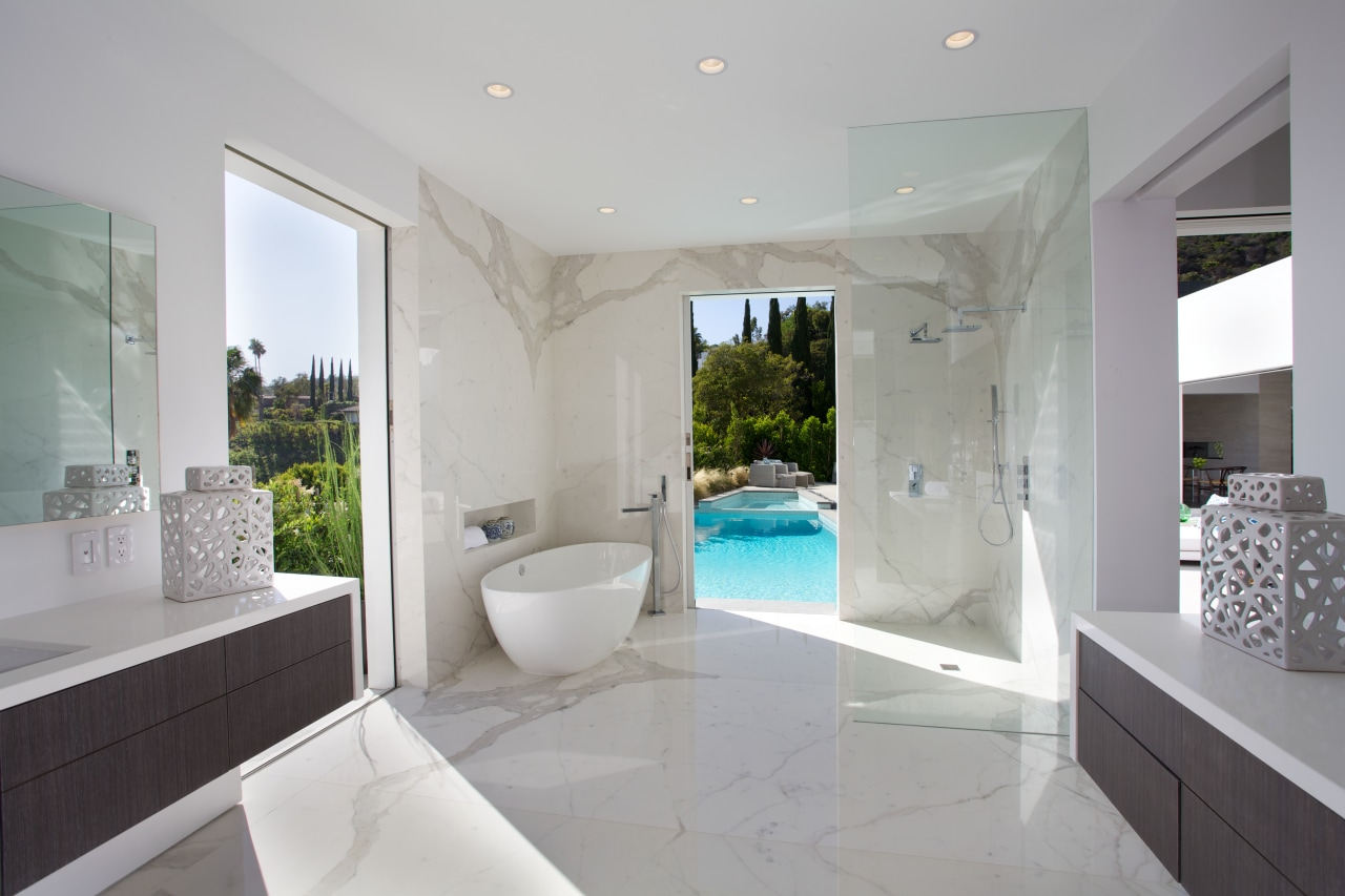 Pocket doors open up this bathroom to spectacular architecture, bathroom, estate, floor, home, interior design, property, real estate, room, gray