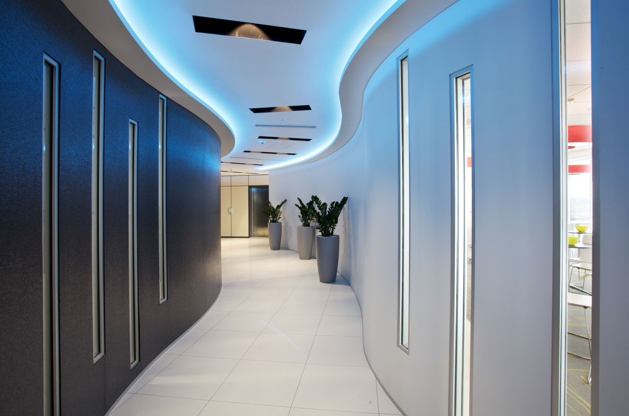 This corridor snakes its way through the MSC ceiling, interior design, lobby, real estate, gray
