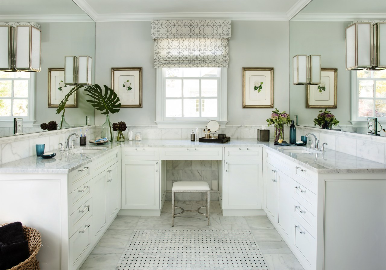 A soft color palette enhances the tranquil ambiance bathroom, bathroom accessory, bathroom cabinet, cabinetry, countertop, cuisine classique, home, interior design, kitchen, room, sink, window, gray