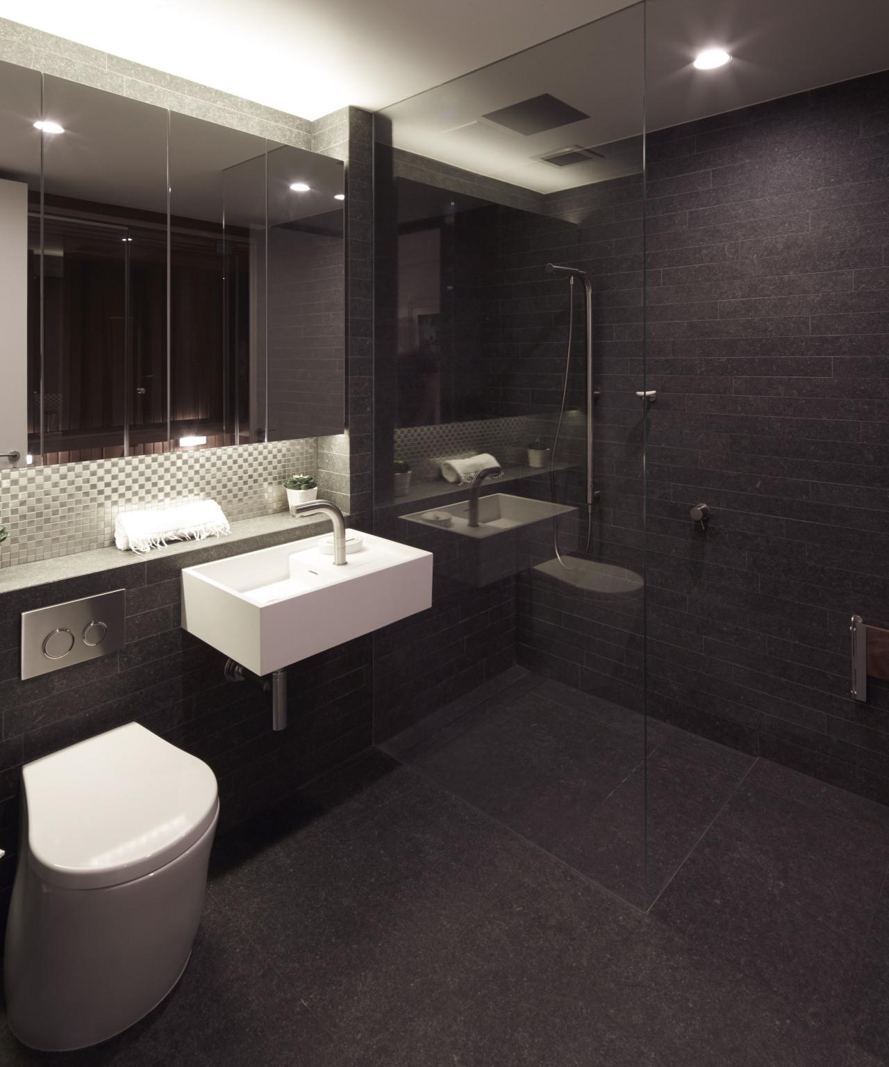 Dark tile bathroom in modern apartment renovation architecture, bathroom, floor, flooring, interior design, room, sink, tile, wall, black
