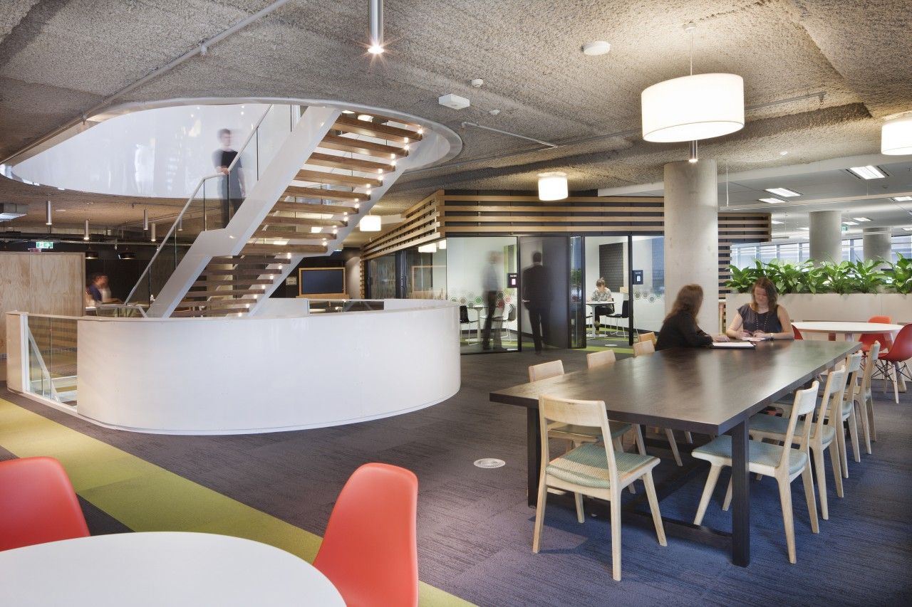 Award-winning sustainable fit-out of Aurecon House, Melbourne cafeteria, ceiling, furniture, interior design, product design, restaurant, table, gray