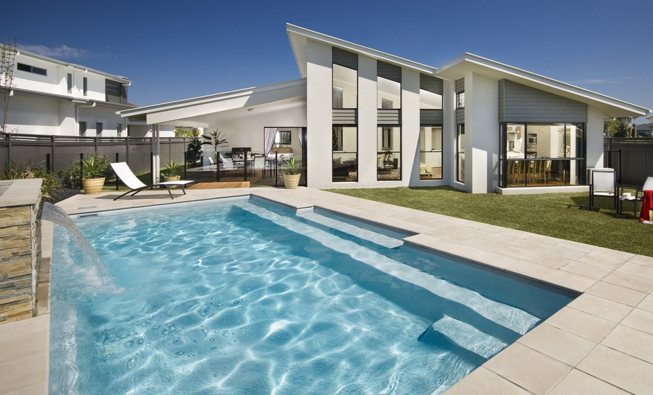 Narellan Pools offers contemporary, affordable in-ground pools to apartment, estate, home, house, leisure, property, real estate, swimming pool, villa, window, teal
