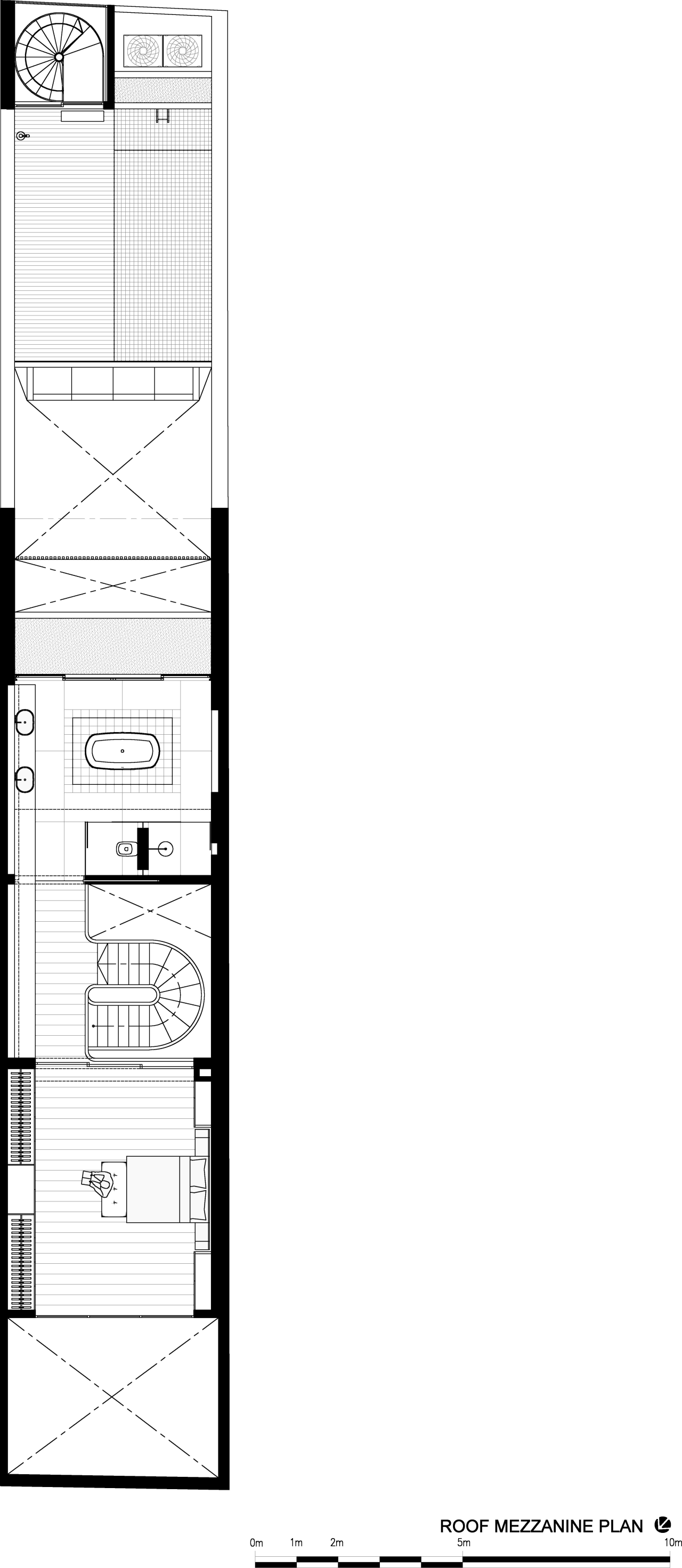 Attic floor plan of renovated Singapore shophouse area, black and white, design, diagram, drawing, floor plan, font, line, paper, product design, structure, text, white