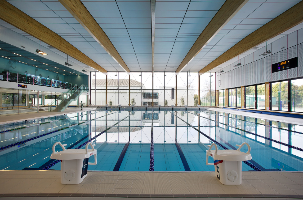 Tiered spectactor seating lines one side of the architecture, daylighting, leisure, leisure centre, metropolitan area, sport venue, structure, swimming pool, water, gray