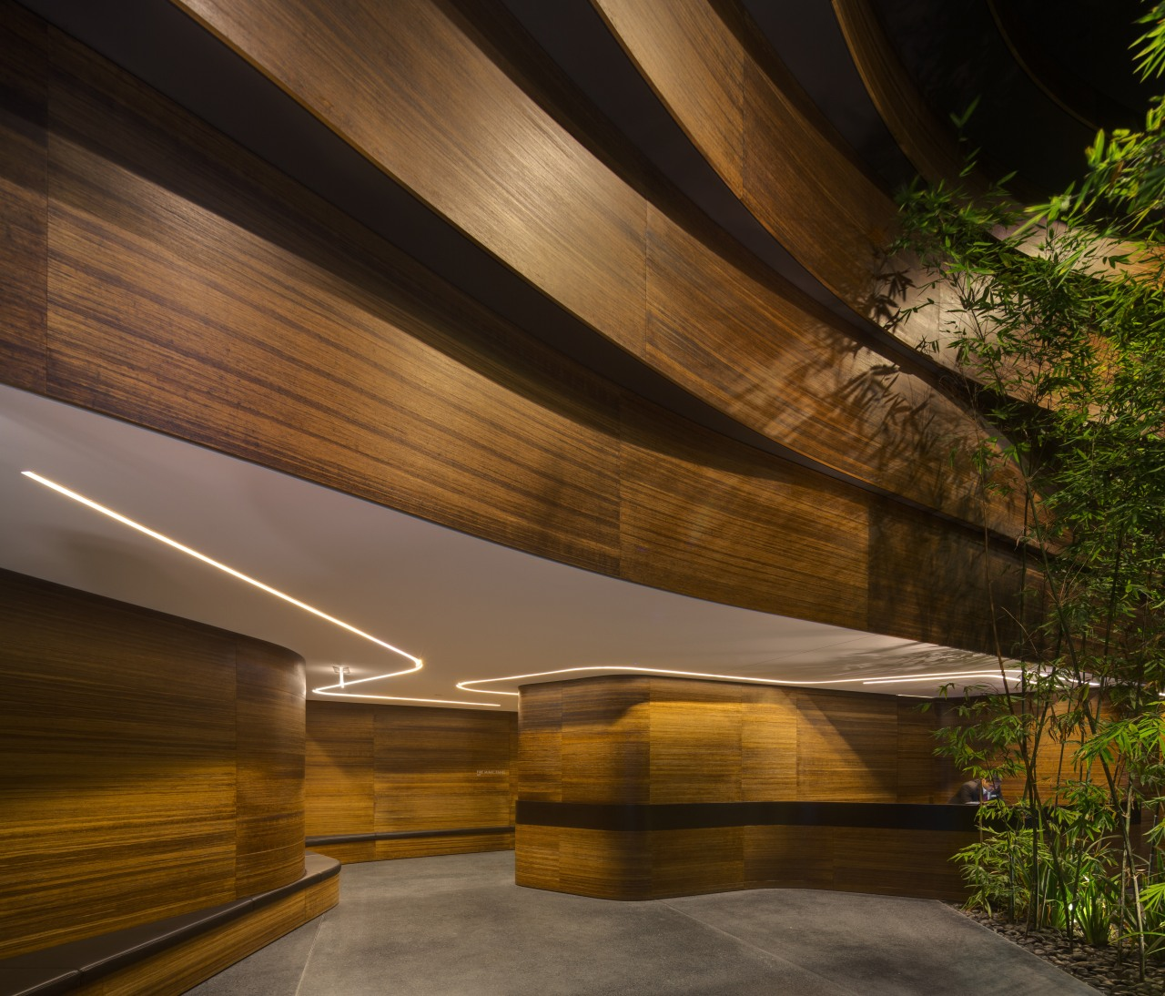 Lobby for East Tower, One Central Park, Sydney architecture, daylighting, interior design, light, lighting, reflection, sunlight, wood, brown