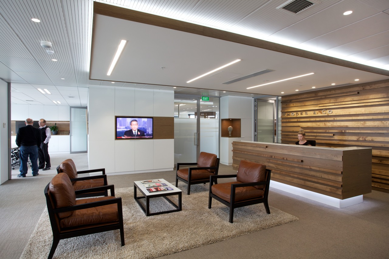 Office interiors in the new building at 76-78 ceiling, interior design, lobby, office, gray, brown