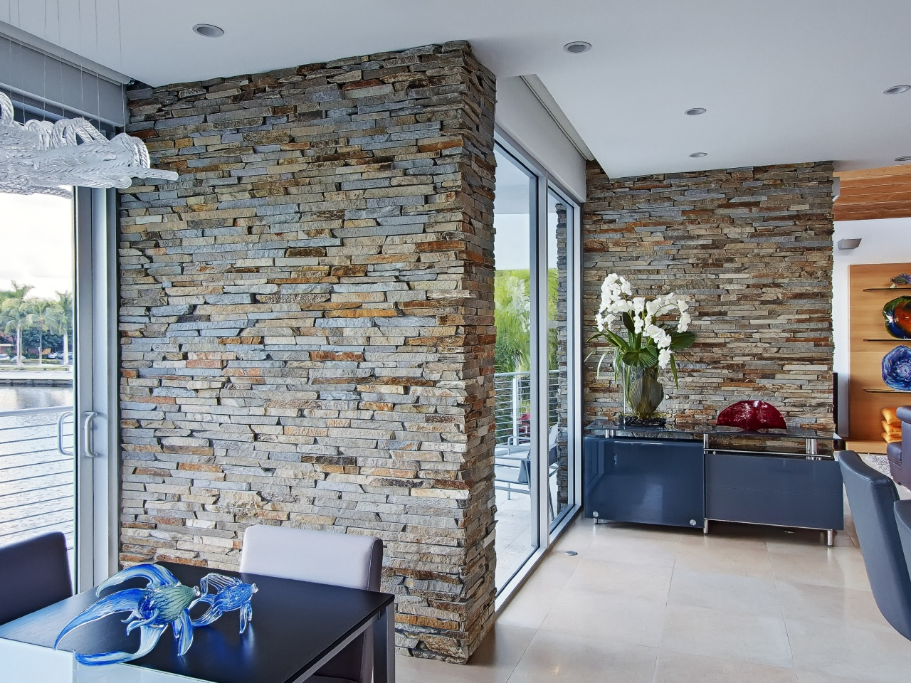 Walls clad in Virginia Ledgestone stone veneers from brick, floor, home, interior design, living room, real estate, wall, gray