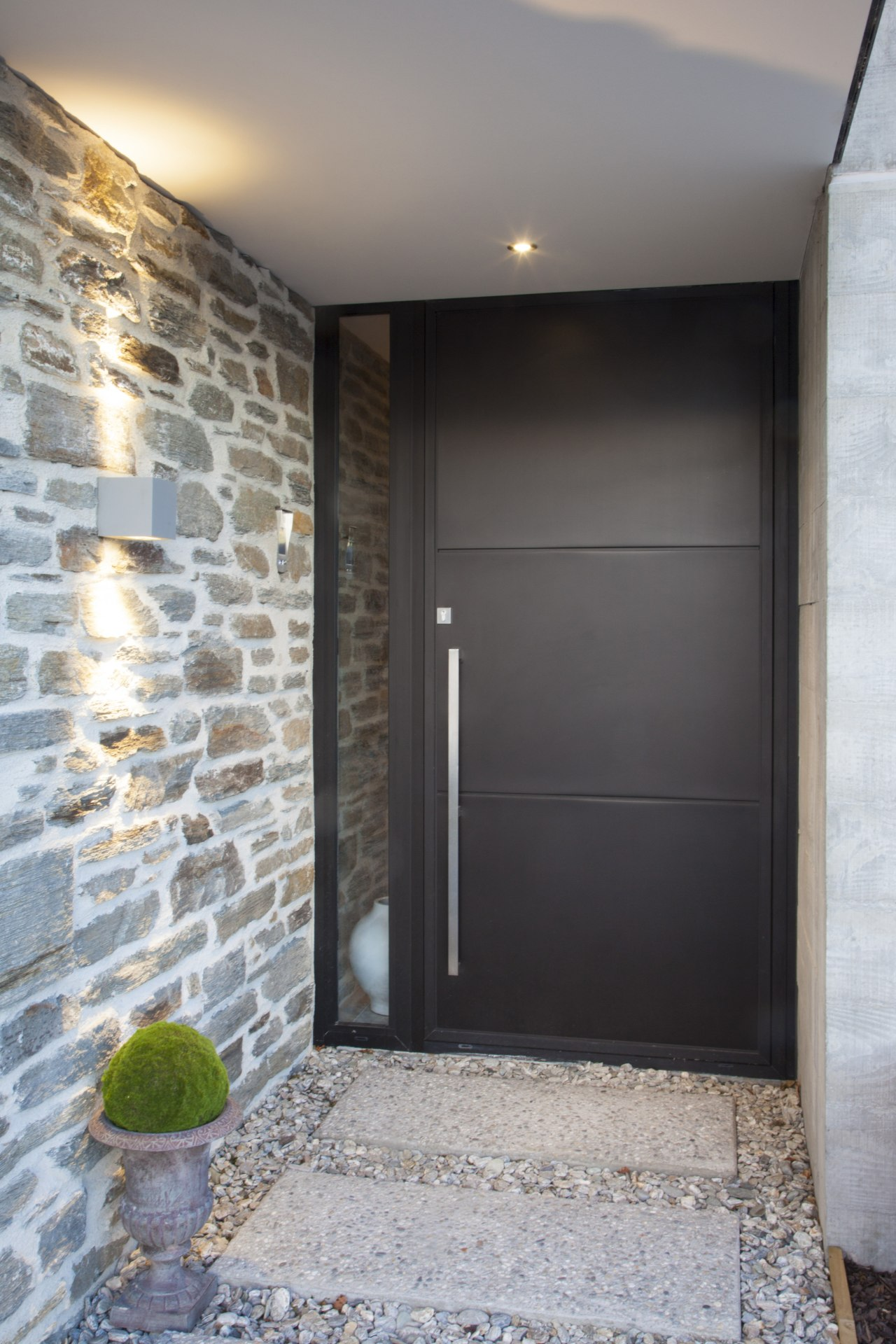 Above: Dramatic entrance a contemporary Black Mist anodised architecture, door, home, house, interior design, real estate, wall, gray
