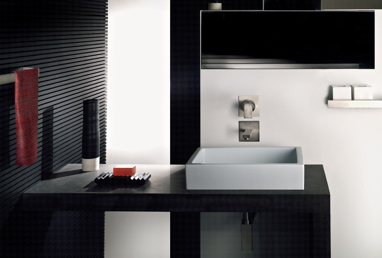 The Rettangolo faucet, created for Gessi by Prospero bathroom, bathroom accessory, interior design, product design, room, sink, tap, black, white