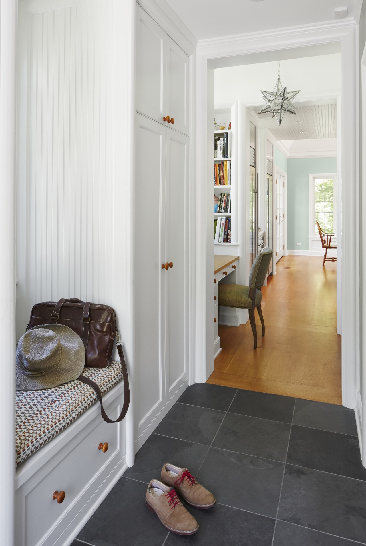 A mudroom, small office and pantry are included door, floor, flooring, hardwood, home, interior design, real estate, room, wall, window, wood, wood flooring, white