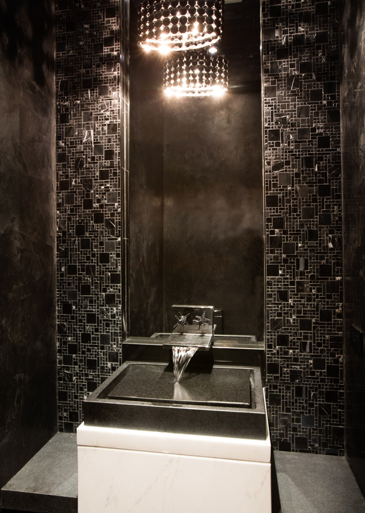 This powder room near the entry to the architecture, bathroom, darkness, flooring, interior design, light, light fixture, lighting, room, wall, black