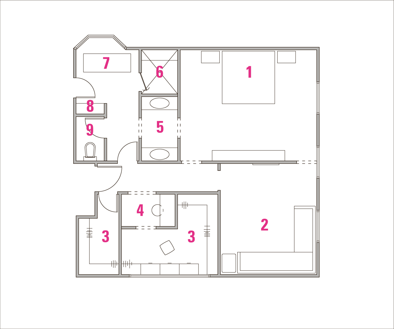 Legend to plans of remodeled bathroom by designer area, design, drawing, floor plan, line, product, product design, square, text, white