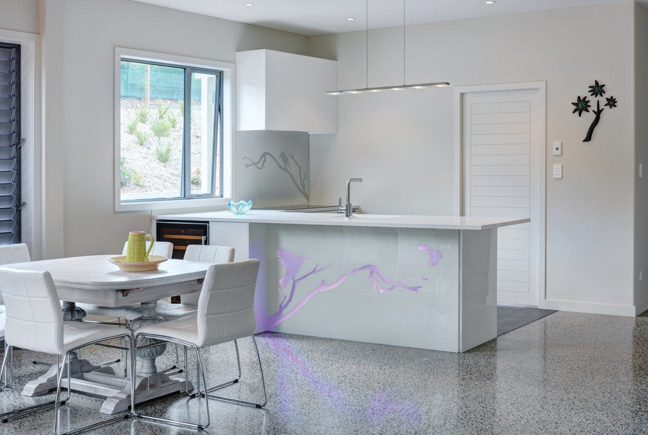 Illuminatis colourful surfaces can be introduced anywhere from furniture, interior design, kitchen, product design, table, gray