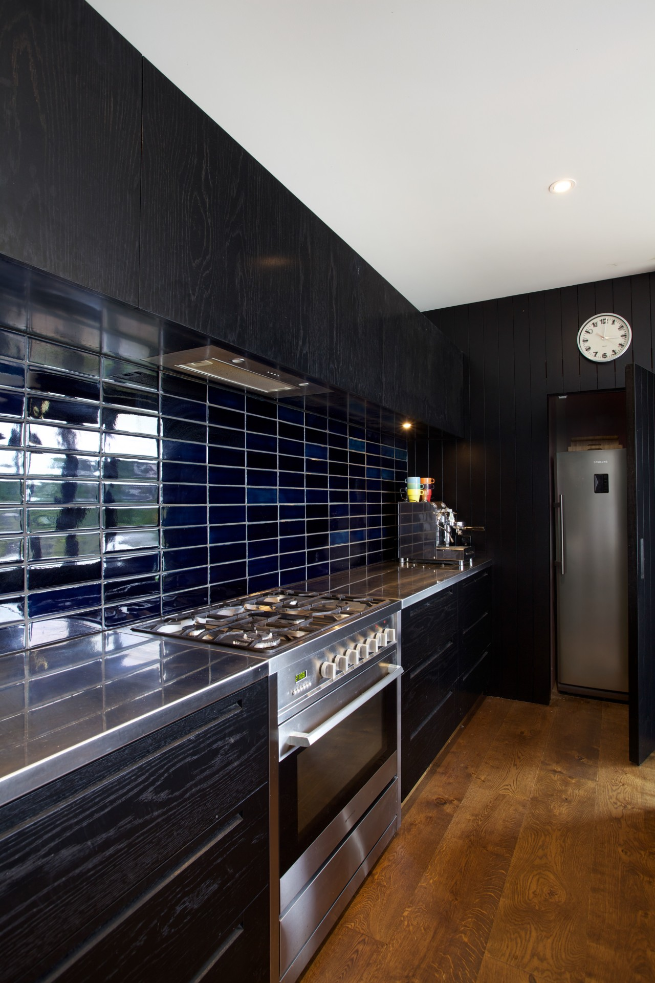 A Vibiemme Domobar coffee machine was plumbed into cabinetry, countertop, interior design, kitchen, room, black
