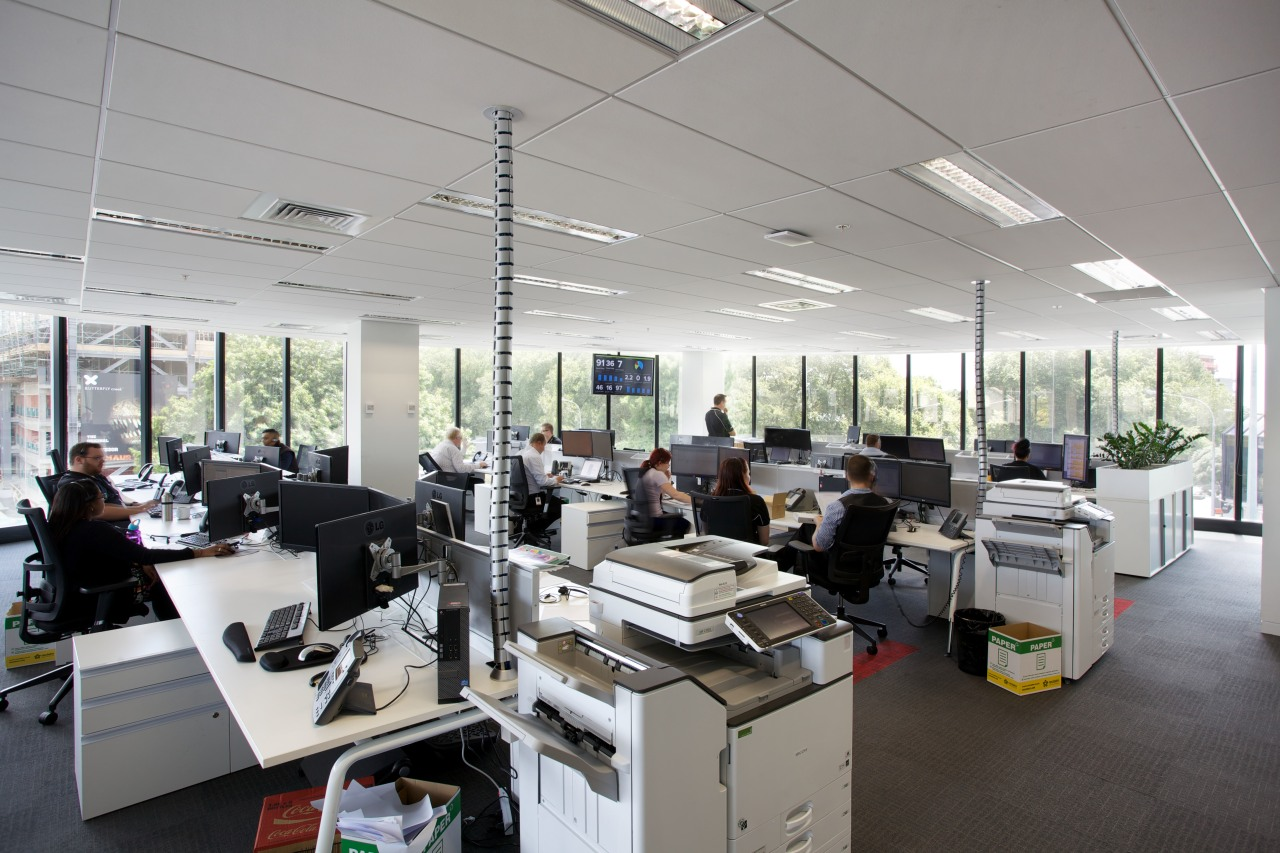 The new Ricoh office in Auckland is a office, gray