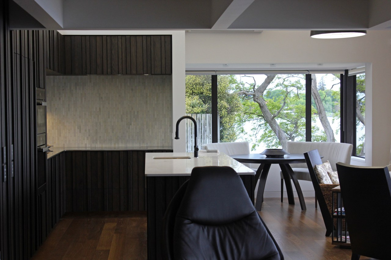 This kitchen and dining area are positioned within architecture, floor, home, house, interior design, room, window, black, gray