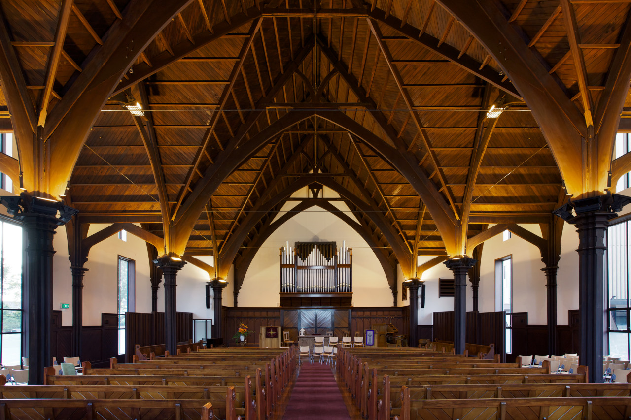 The full glory of the Gothic Revival interior aisle, building, ceiling, chapel, church, place of worship, brown