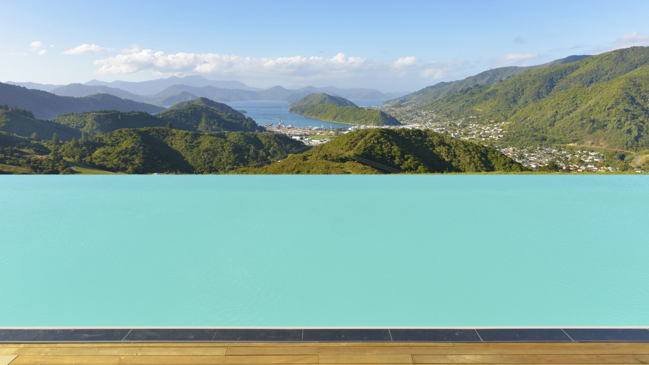 This 25m x 6m swimming pool, built by lake, landscape, mountain, mountain range, nature, reservoir, sky, water, water resources, teal