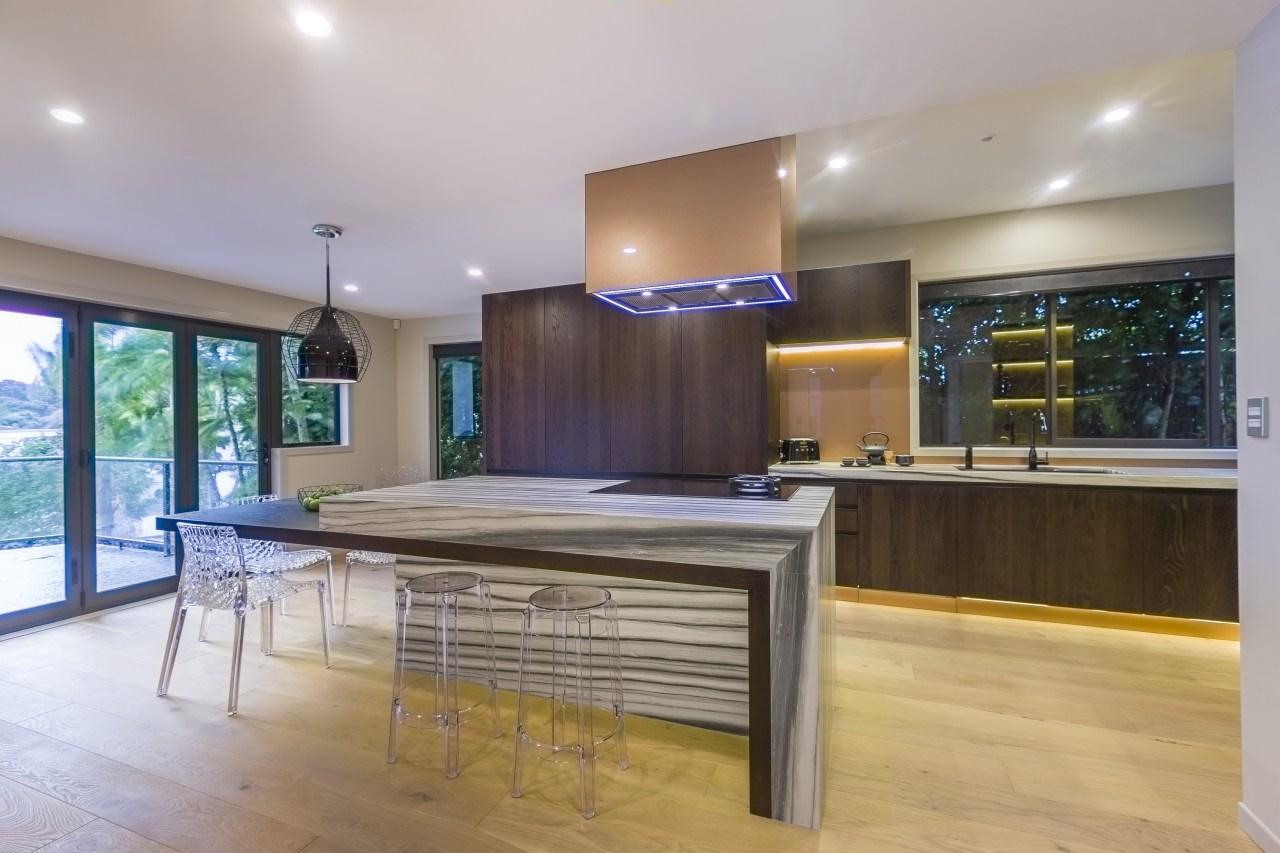 Striped zebrino marble features on the long island ceiling, countertop, estate, floor, flooring, hardwood, interior design, kitchen, real estate, wood flooring, gray