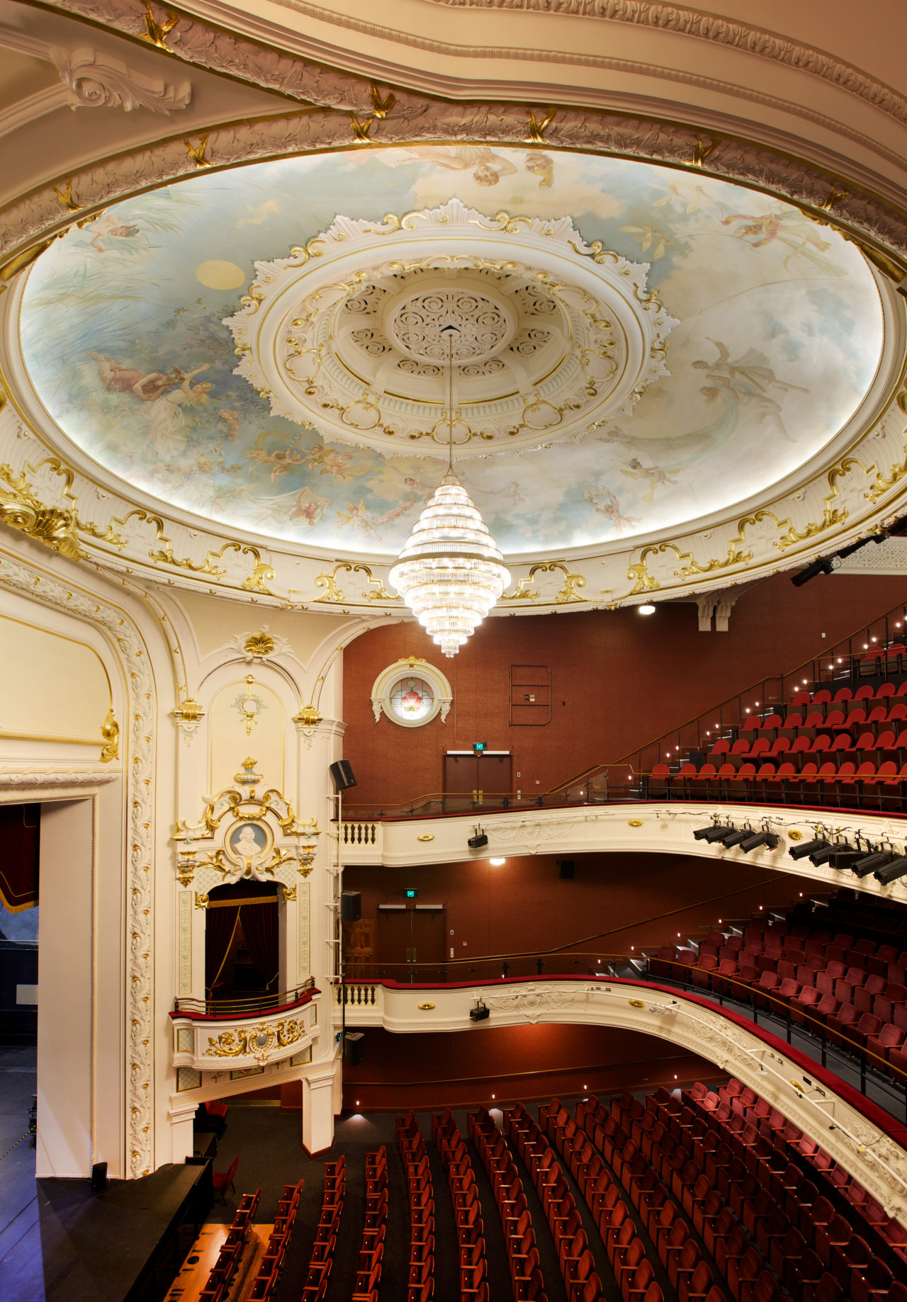 Plaster Services undertook the restoration of the plasterwork architecture, auditorium, ceiling, column, daylighting, interior design, lobby, opera house, performing arts center, symmetry, theatre, wall, orange, red