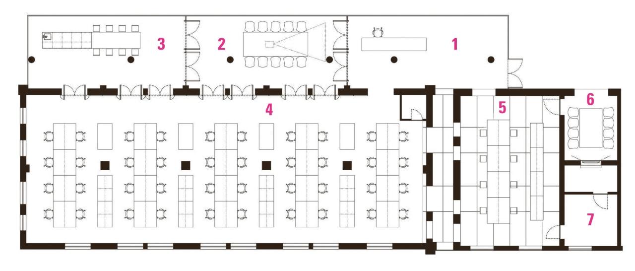 Legend to plan of Spark Architects office, Beijing:1 area, design, diagram, floor plan, font, line, plan, product design, text, white