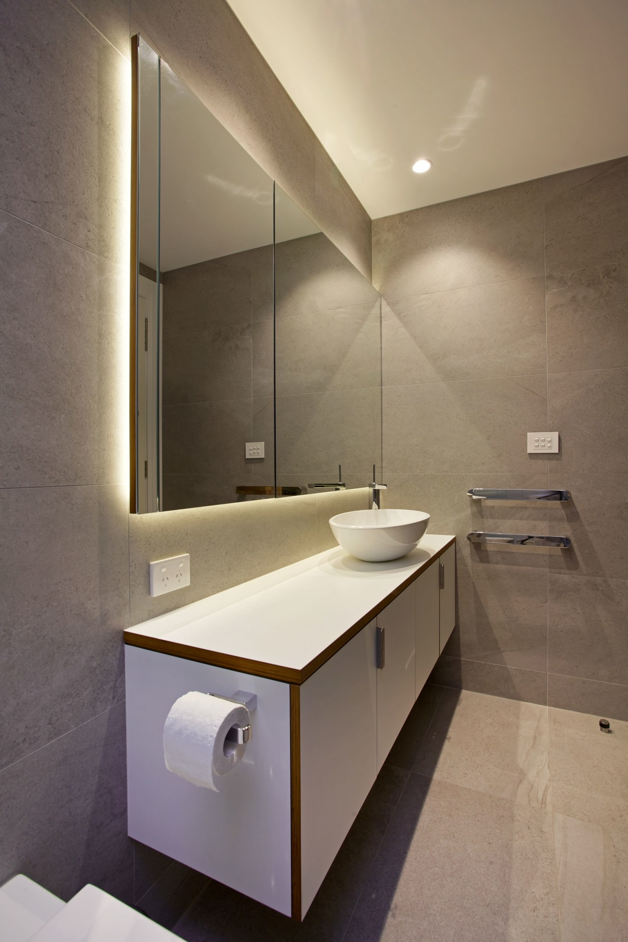 Futura plywood with an exposed endgrain defines the architecture, bathroom, bathroom accessory, bathroom cabinet, bathroom sink, floor, interior design, product design, room, sink, tap, brown, gray
