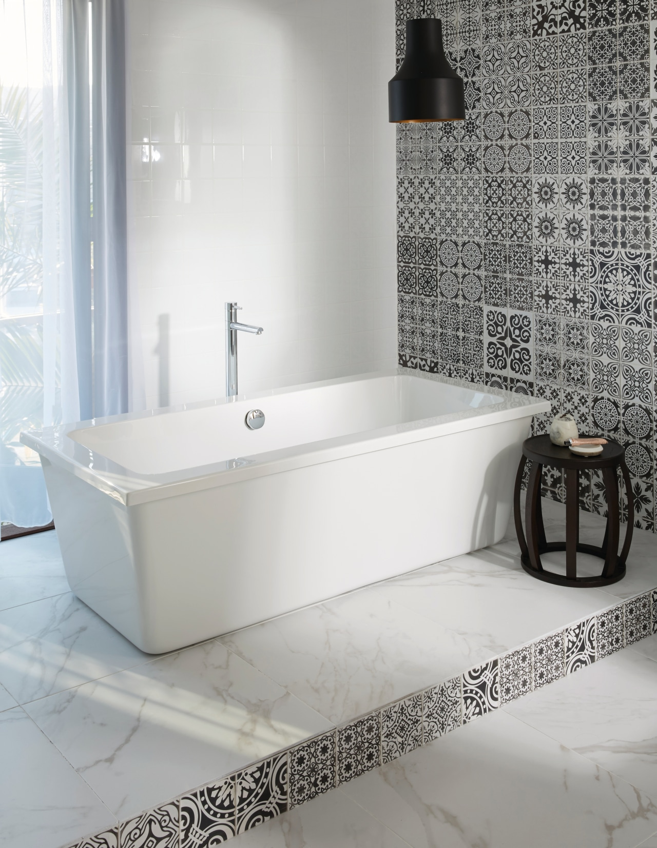 This new bathroom features the Bianco bath by angle, bathroom, bathroom sink, bathtub, ceramic, floor, interior design, plumbing fixture, product, product design, sink, tap, tile, toilet seat, wall, gray, white