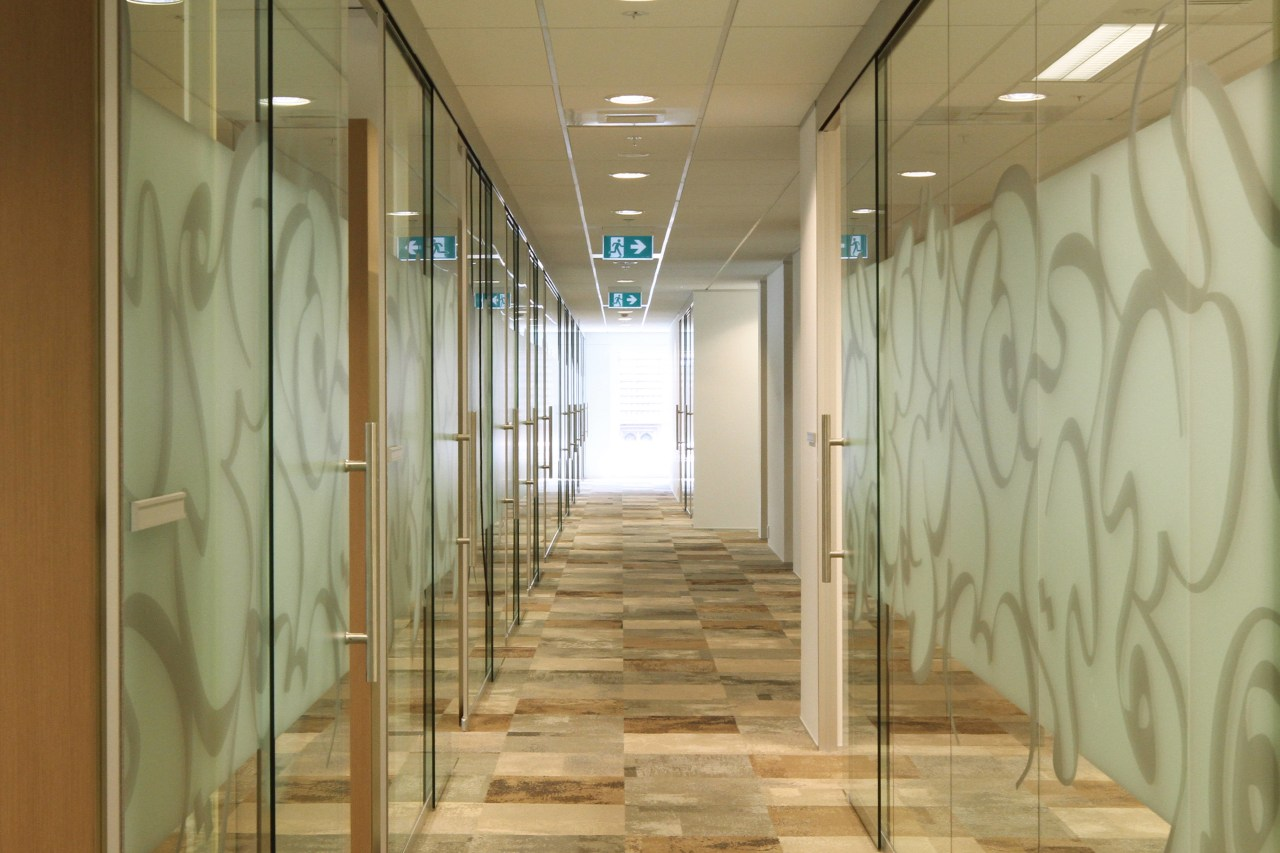 The Ministry of Justice Specialist Courts in Auckland ceiling, daylighting, floor, flooring, glass, interior design, lobby, real estate, wall, brown, yellow