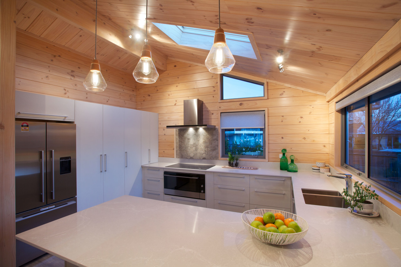 A skylight in the kitchen of the new architecture, ceiling, countertop, daylighting, house, interior design, kitchen, real estate, room, gray, brown